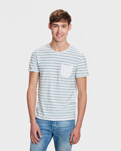 T-SHIRT SLIM FIT R-NECK STRIPE HOMME Vert menthe