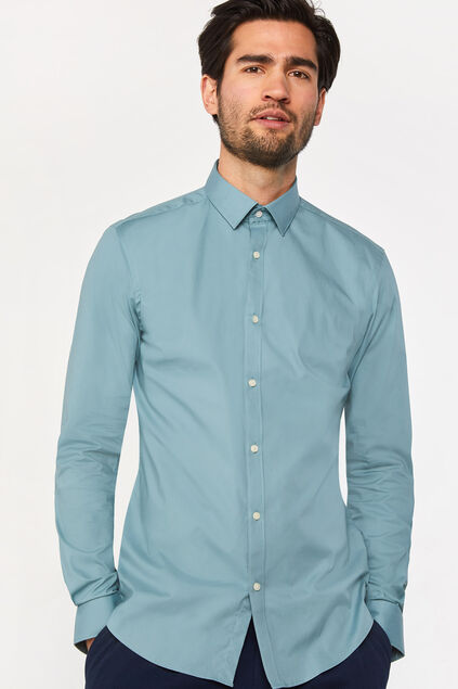 Chemise slim fit stretch homme Vert gris