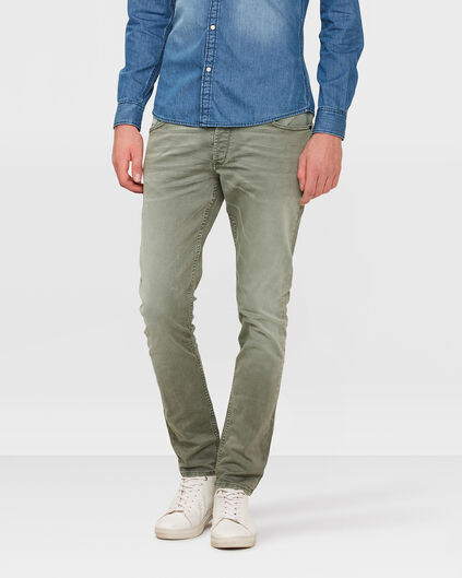 PANTALON SKINNY TAPERED STRETCH HOMME Vert gris
