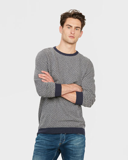 PULL PRINTED R-NECK HOMME Bleu marine