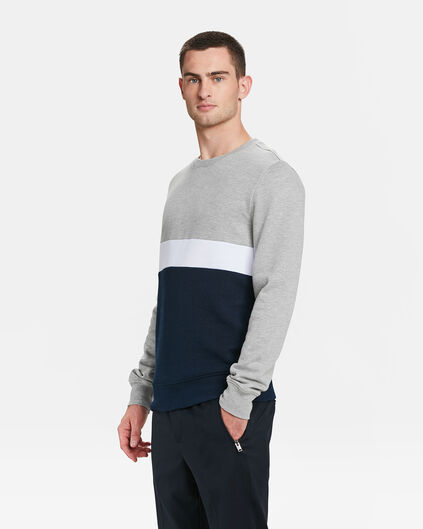 SWEAT-SHIRT COLOUR BLOCK HOMME Gris clair mêlé