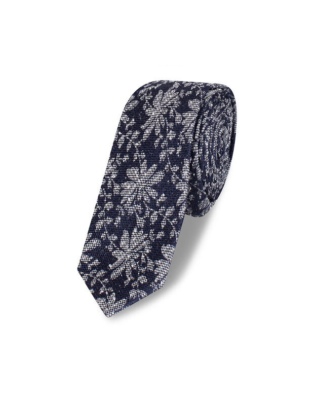 CRAVATE FLOWER PRINT HOMME Bleu marine