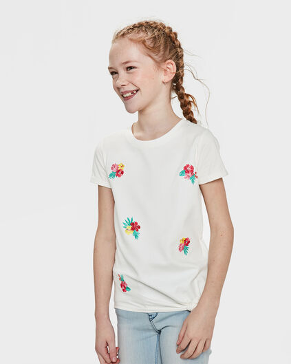 T-SHIRT FLOWER EMBROIDERY FILLE Blanc cassé