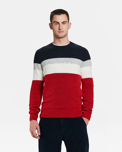 PULL COLOUR BLOCK HOMME Rouge vif