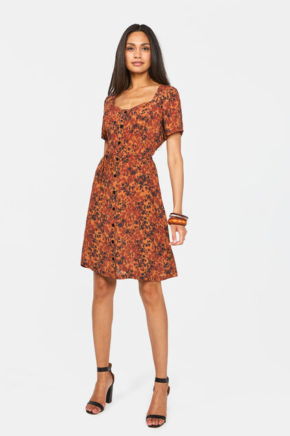 Robe à encolure carrée femme Brun Cannelle