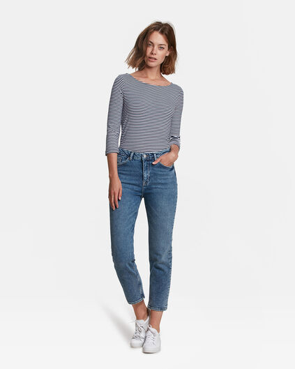 JEANS HIGH RISE STRAIGHT LEG CROPPED FEMME Bleu