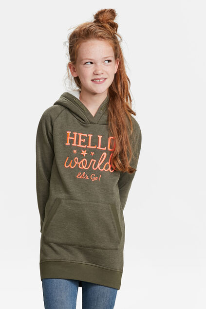 ROBE-SWEAT HOODED FILLE Vert armee