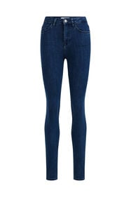 Jeans high rise skinny stretch femme_Jeans high rise skinny stretch femme, Bleu foncé