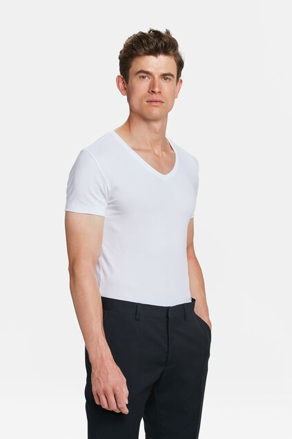 T-SHIRT INVISIBLE V-NECK HOMME, PACK DE 2 Blanc