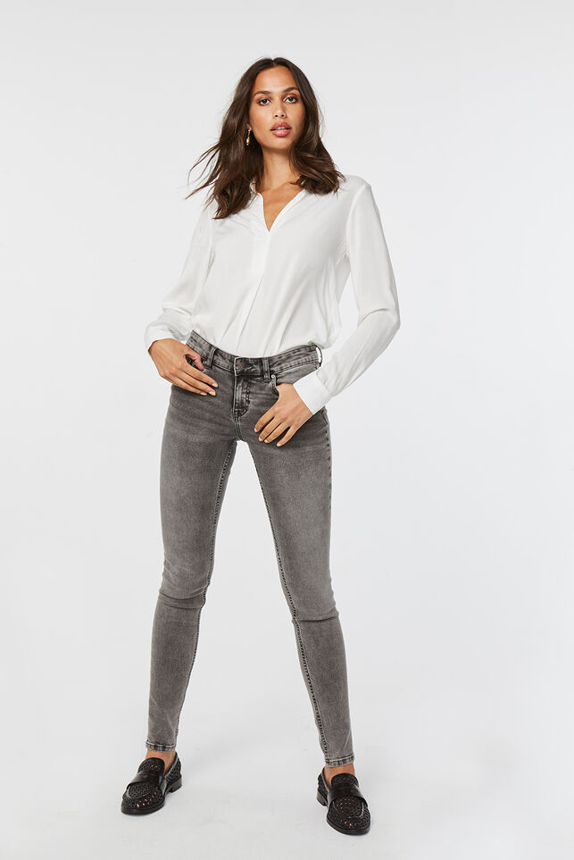 Jeans mid rise super skinny femme Gris clair