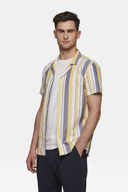 Chemise relaxed fit rayée homme Jaune