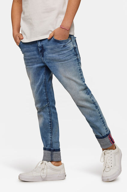 Jog denim boyfriend fit fille Bleu