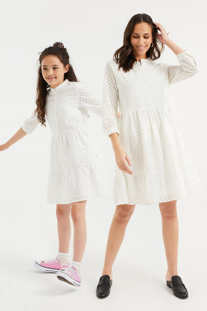 Robe à broderie anglaise fille Blanc