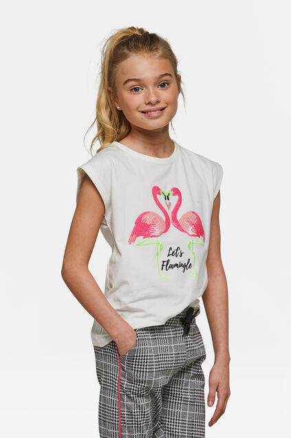 T-shirt pailleté let's flamingle fille Blanc