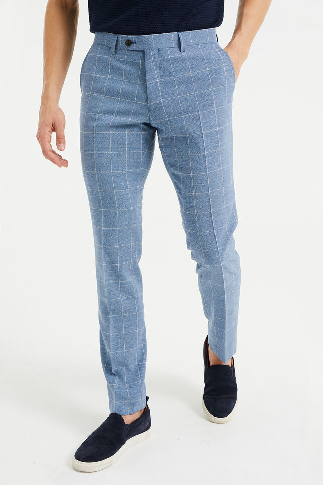 Pantalon slim fit à carreaux homme, Troy Bleu gris