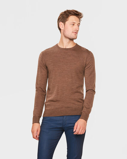 PULL COL ROND MERINO WOOL HOMME Caramel