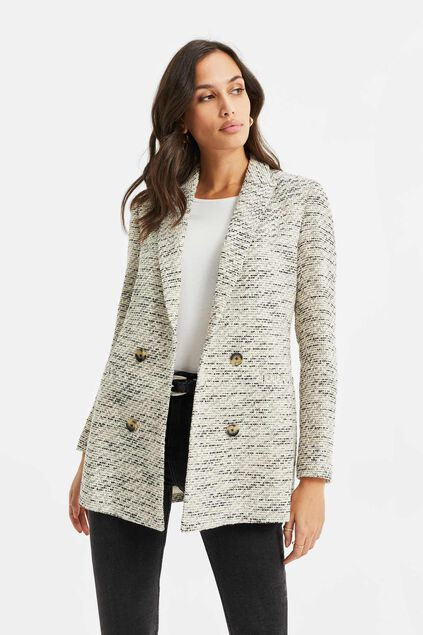 Blazer regular fit de bouclé femme Multicolore