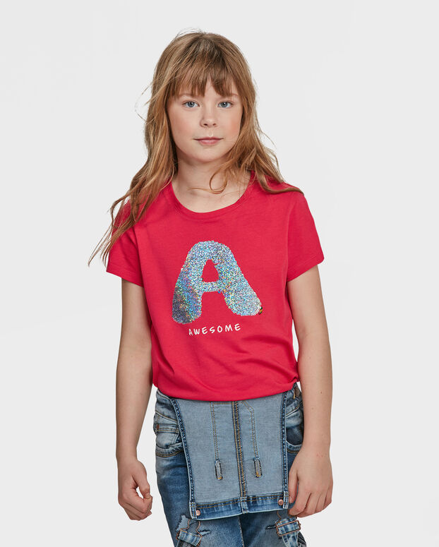 T-SHIRT AWESOME FLIP SEQUINS FILLE Rose