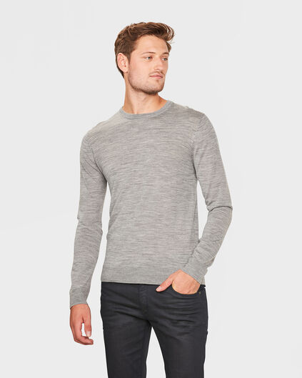 PULL COL ROND MERINO WOOL HOMME Gris clair