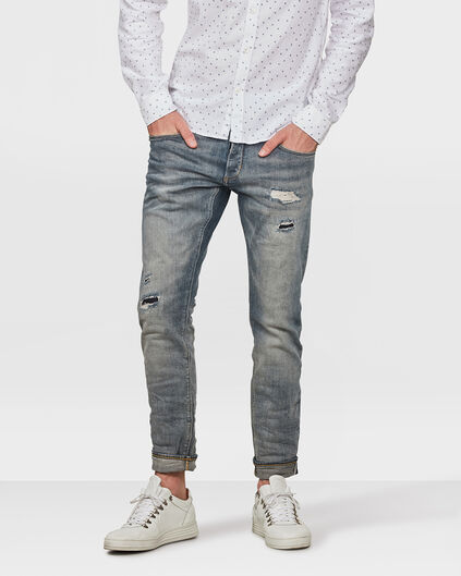 JEANS SLIM TAPERED SELVEDGE STRETCH HOMME Bleu eclair