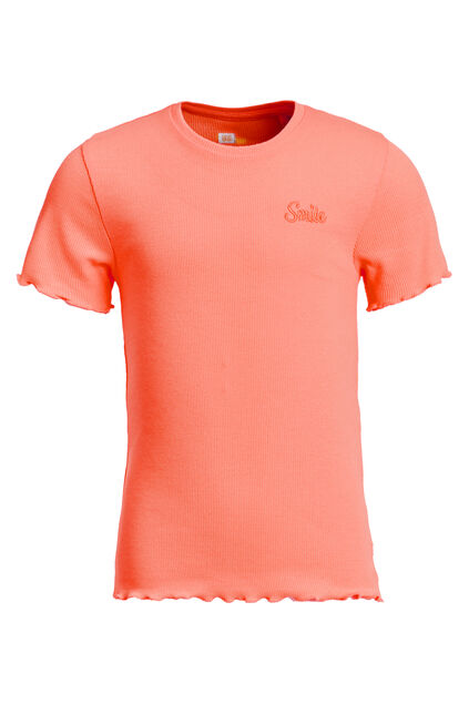T-shirt slim fit à structure côtelée fille Rose saumon