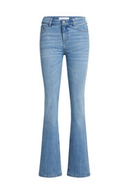 Jeans stretch mid waist flared femme_Jeans stretch mid waist flared femme, Bleu eclair