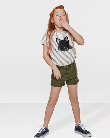 SHORT REGULAR FIT FILLE Vert armee