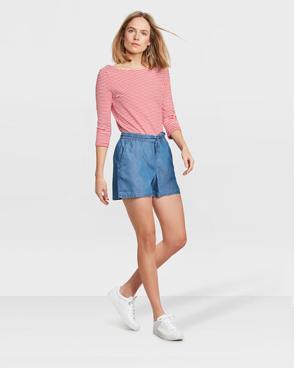 SHORT RELAXED FIT CHINO FEMME Bleu