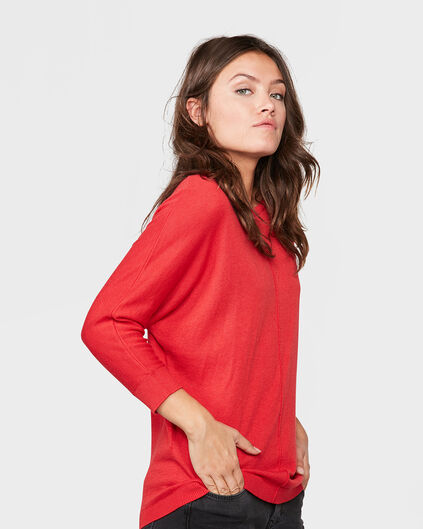 PULL OVERSIZED KNIT FEMME Rouge