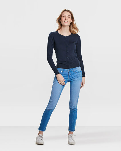 JEANS MID RISE SKINNY HIGH STRETCH CROPPED FEMME Bleu