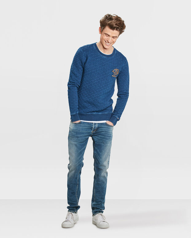 SWEAT-SHIRT JACQUARD HOMME Indigo