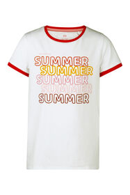 T-SHIRT SUMMER PRINT FILLE_T-SHIRT SUMMER PRINT FILLE, Blanc