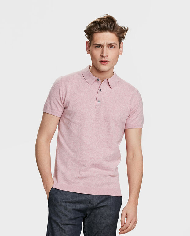 POLO FINE KNIT HOMME Rose clair