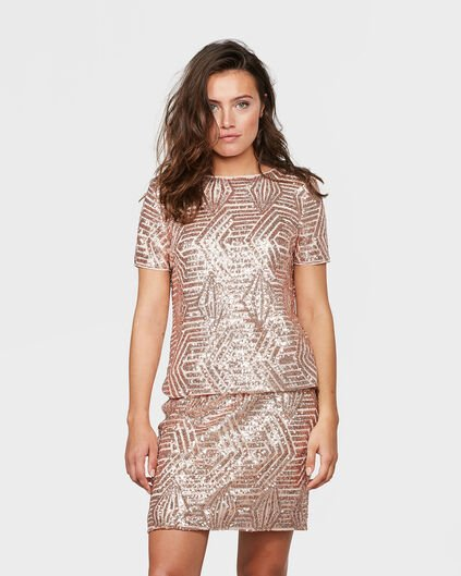 TOP SEQUIN FEMME Rose saumon