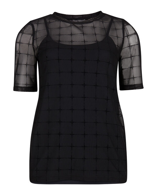 TOP TRANSPARANT CHECKED FEMME Noir