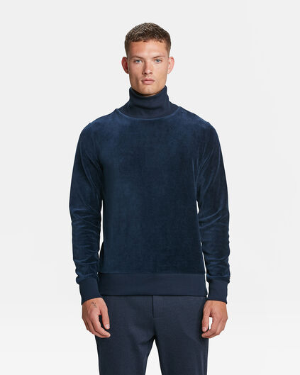 SWEAT-SHIRT VELVET TURTLE NECK HOMME Indigo
