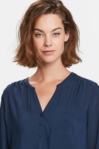CHEMISIER SINGLE PATCH POCKET FEMME Bleu foncé