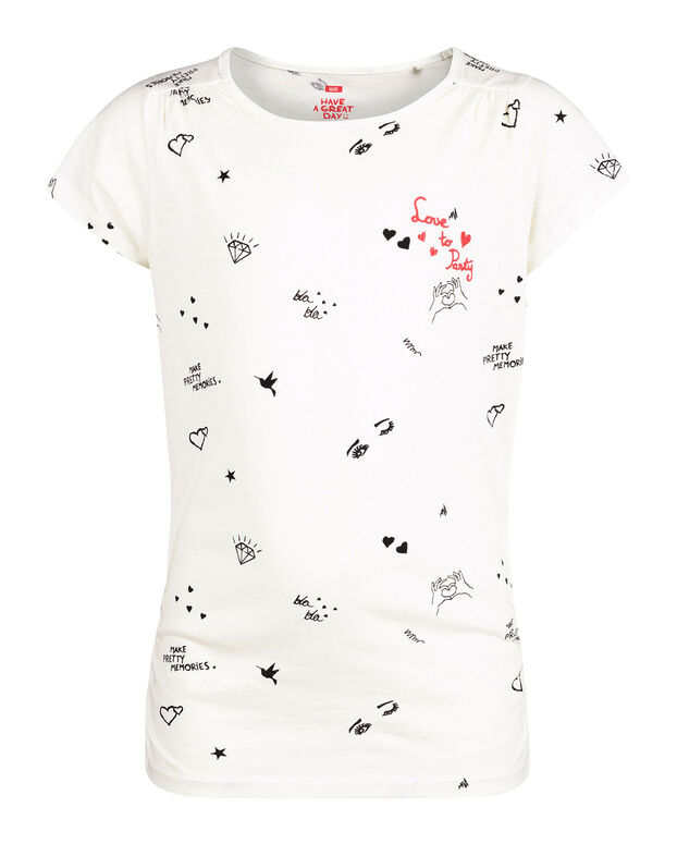 T-SHIRT PRINTED LOVE TO PARTY FILLE Blanc
