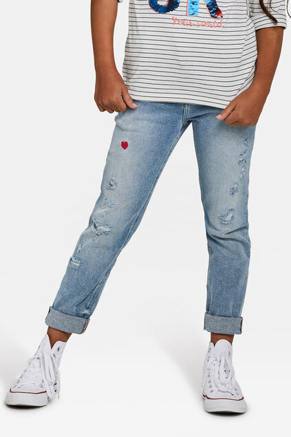 Jeans girlfriend fit fille Bleu