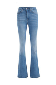 Jeans flared high waist stretch femme_Jeans flared high waist stretch femme, Bleu eclair