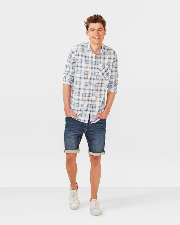 CHEMISE RELAXED FIT CHECKED HOMME Bleu eclair