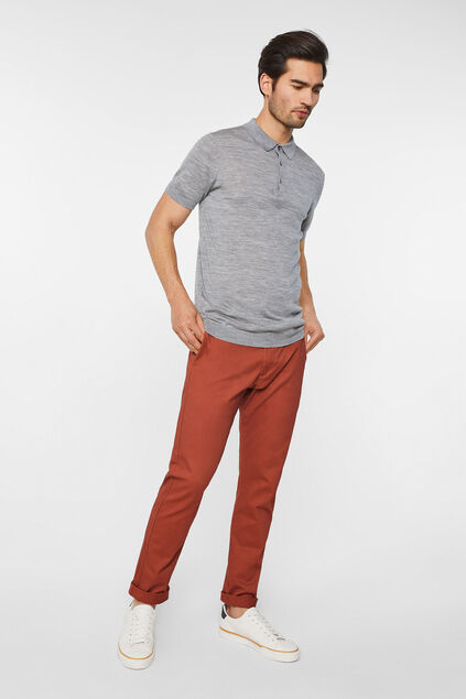 Pantalon chino slim tapered uni homme Rouge