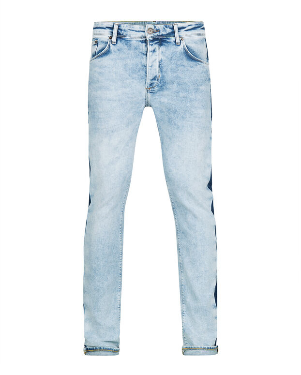 JEANS SKINNY TAPERED CONTRAST STRIPE HOMME Bleu eclair