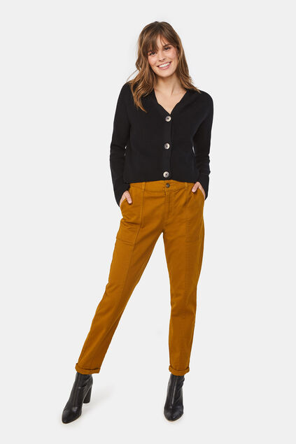 Pantalon cargo regular fit femme Jaune ocre