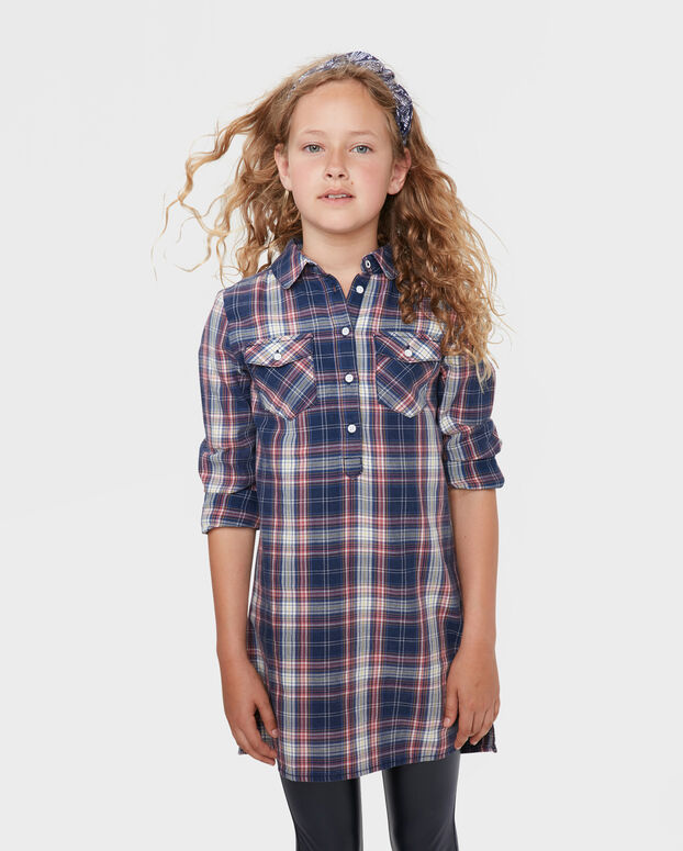 ROBE CHEMISE CHECKED FILLE Indigo