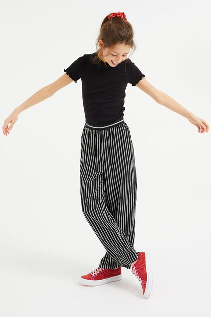 Pantalon loose fit à rayures fille Noir