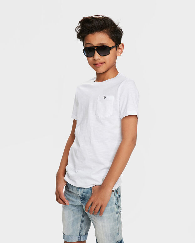 T-SHIRT ONE POCKET R-NECK GARÇON Blanc