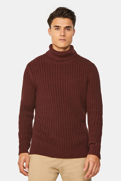 Pull jersey à col homme Brun