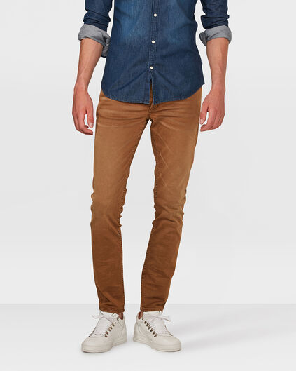 PANTALON SKINNY TAPERED STRETCH HOMME Brun Cannelle