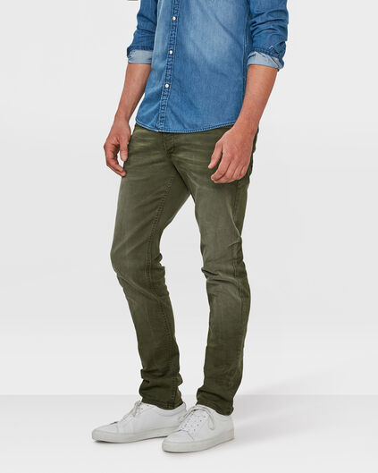 PANTALON SKINNY TAPERED STRETCH HOMME Vert armee